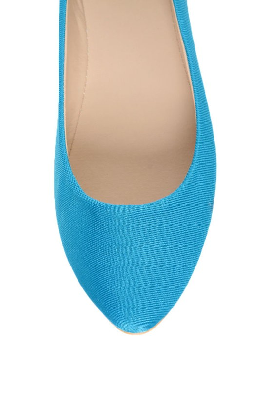Bamboo Jump 01P Blue Lycra Pointed Flats at Lulus.com!