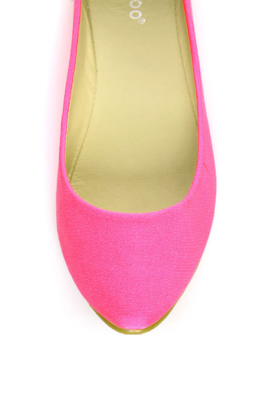 Bamboo Jump 01P Neon Pink Lycra Pointed Flats at Lulus.com!