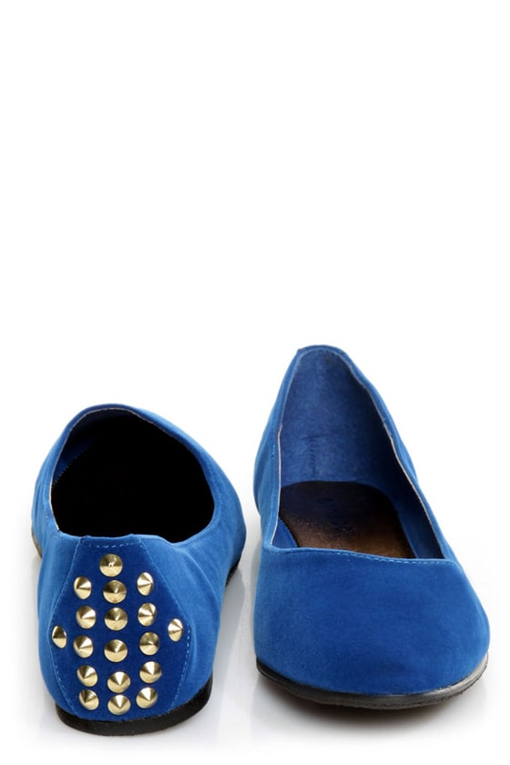 Bamboo Jump 32 Blue Heel-Studded Pointed Flats