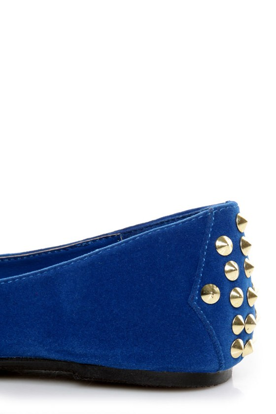 Bamboo Jump 32 Blue Heel-Studded Pointed Flats at Lulus.com!