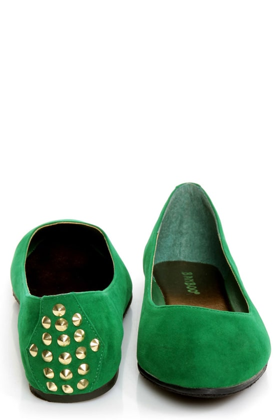 Bamboo Jump 32 Green Heel-Studded Pointed Flats at Lulus.com!