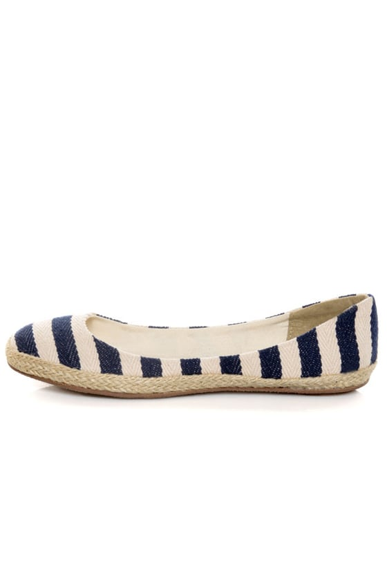 Bamboo Karri 09 Navy Canvas Striped Espadrille Flats