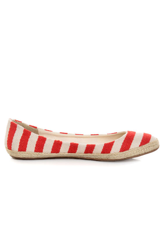 Bamboo Karri 09 Red Canvas Striped Espadrille Flats
