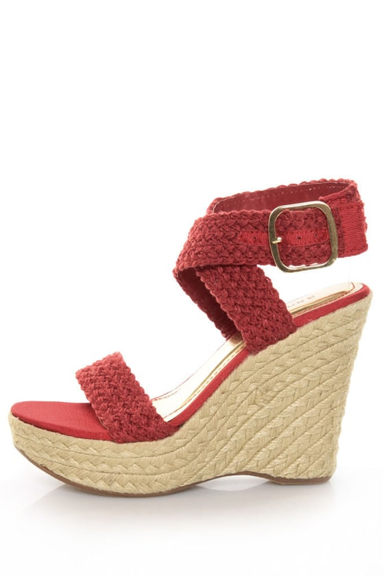 0f64031fea2 Bamboo Leanne 34 Red Woven Espadrille Wedges -  32.00