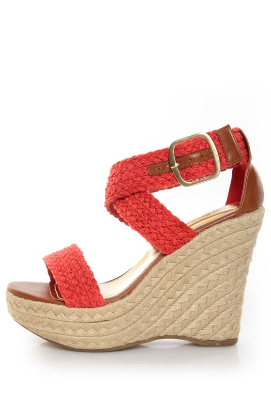 Bamboo Leanne 35 Coral Red Woven Espadrille Wedges