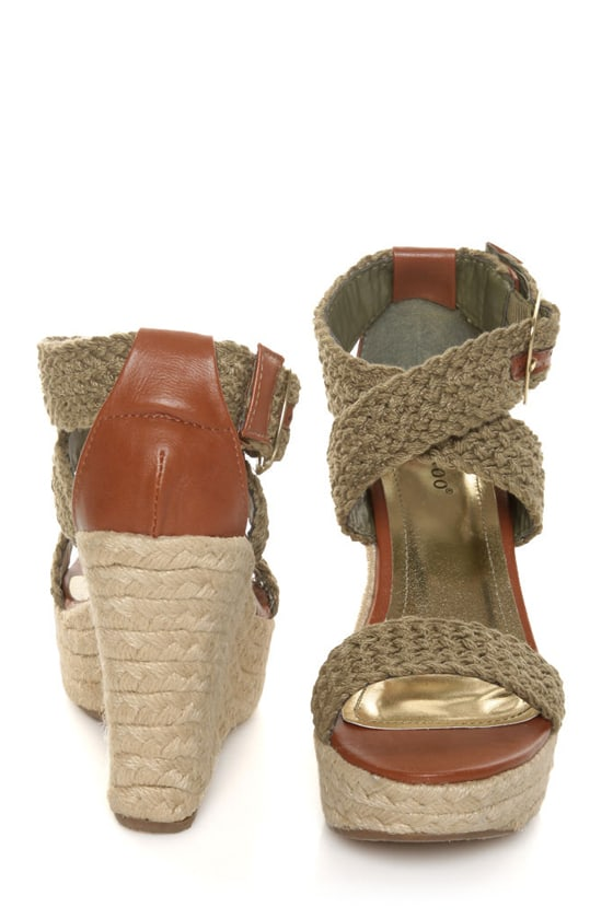 Bamboo Leanne 35 Olive Woven Espadrille Wedges