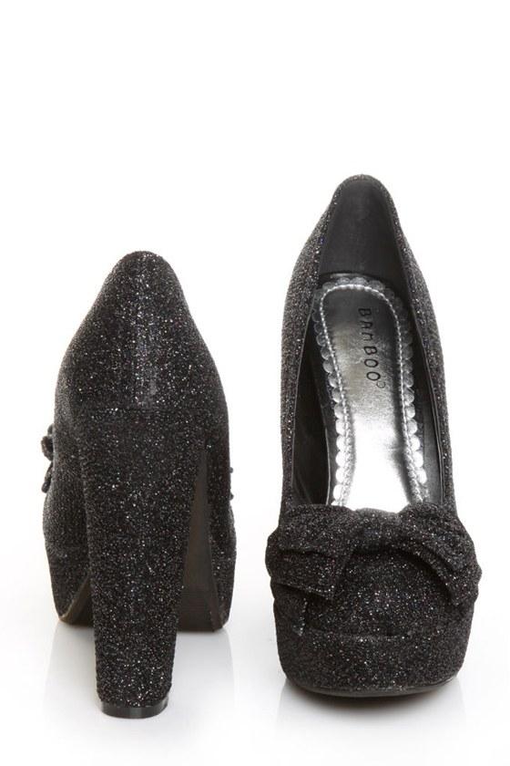 Bamboo Luscious 23 Black Bow Glitter Fabric Platform Heels