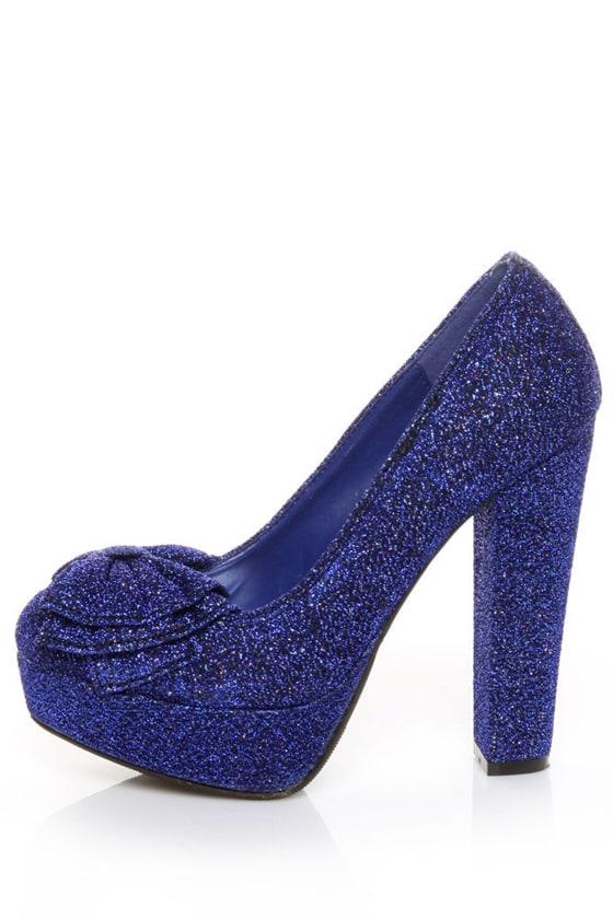 Bamboo Luscious 23 Blue Bow Glitter Fabric Platform Heels