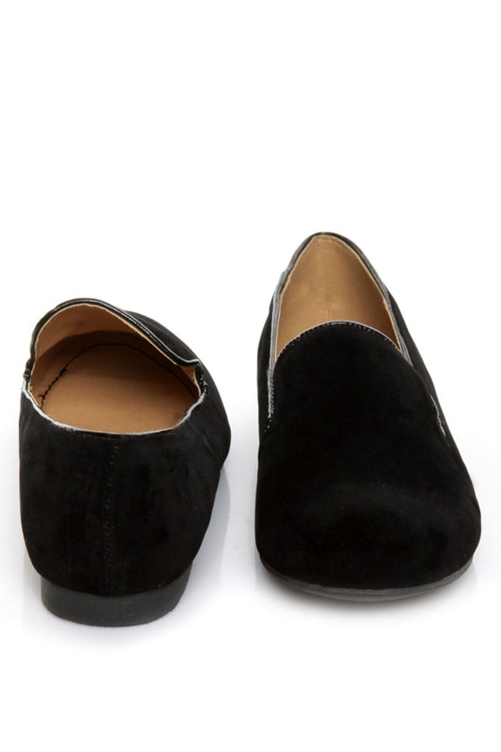 Bamboo Mansion 01 Black Smoking Slipper Loafer Flats