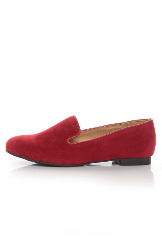 Bamboo Mansion 01 Red Smoking Slipper Loafer Flats