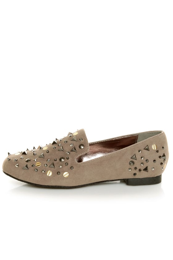 Bamboo Mansion 18 Taupe Studded Smoking Slipper Flats