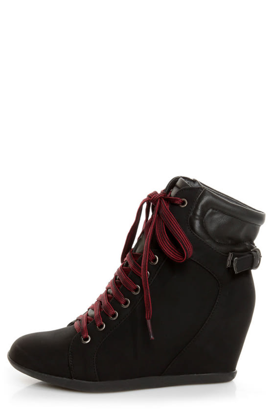 Bamboo Mariela 03 Black Lace-Up Wedge Sneakers