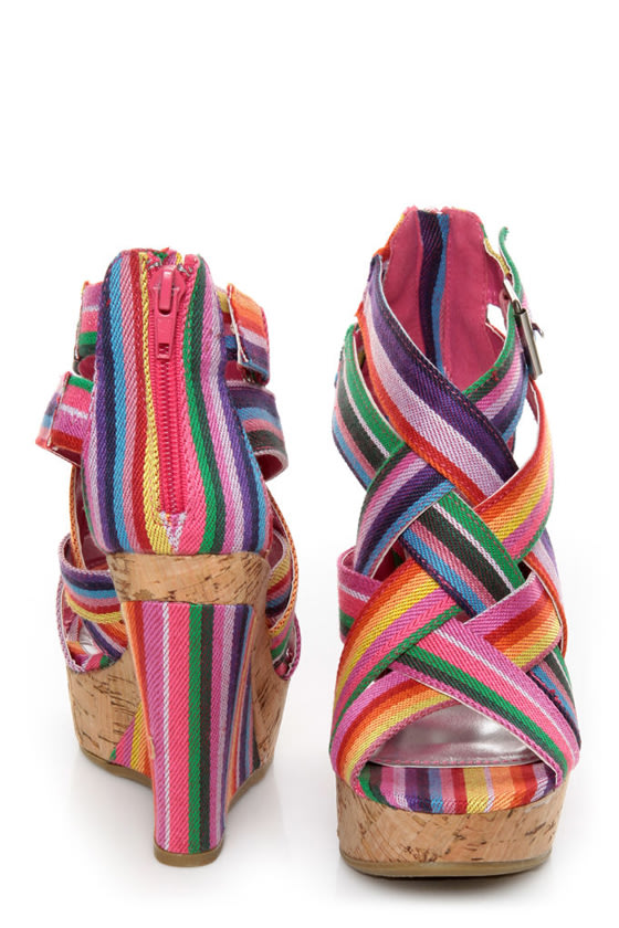 Bamboo Mirage 07 Fuchsia Rainbow Striped Wedge Sandals