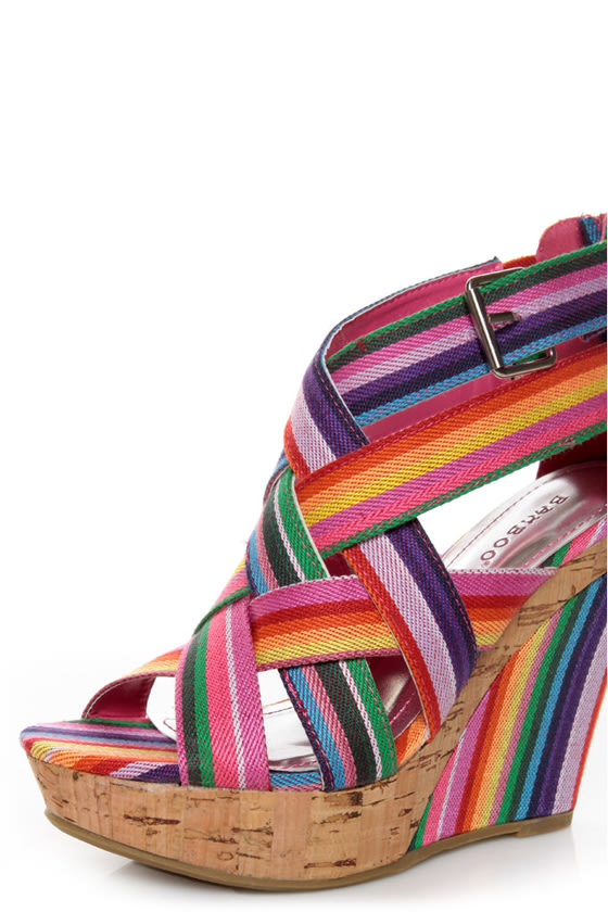 Bamboo Mirage 07 Fuchsia Rainbow Striped Wedge Sandals at Lulus.com!