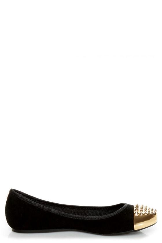 Bamboo Mirina 02 Black Studded Metal Cap-Toe Ballet Flats