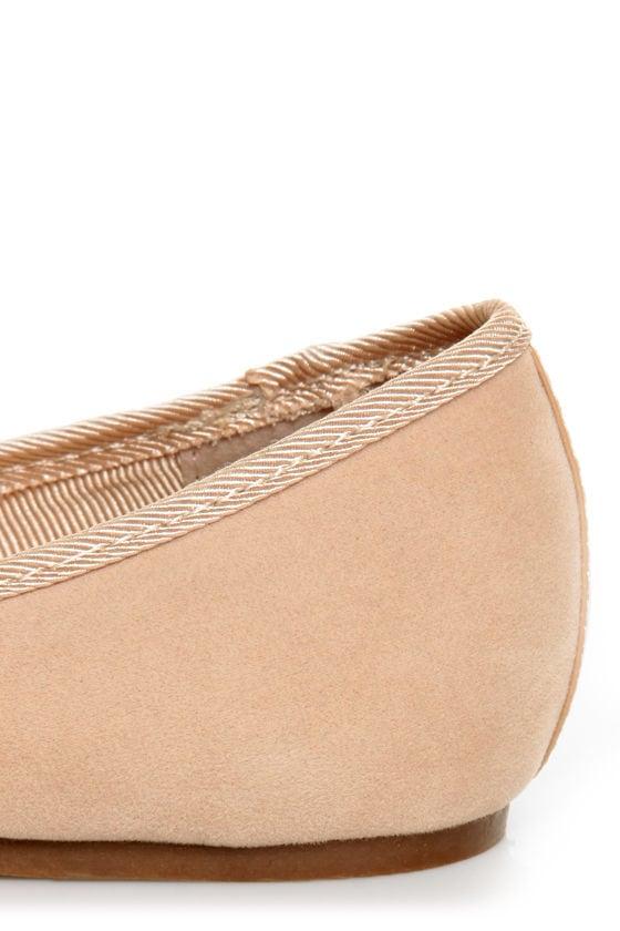 Bamboo Mirina 02 Nude Studded Metal Cap-Toe Ballet Flats at Lulus.com!