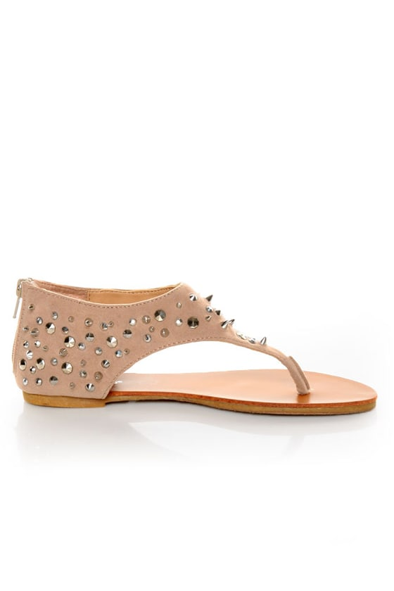 Bamboo Morris 25 Nude Studded and Spiked Thong Sandals at Lulus.com!