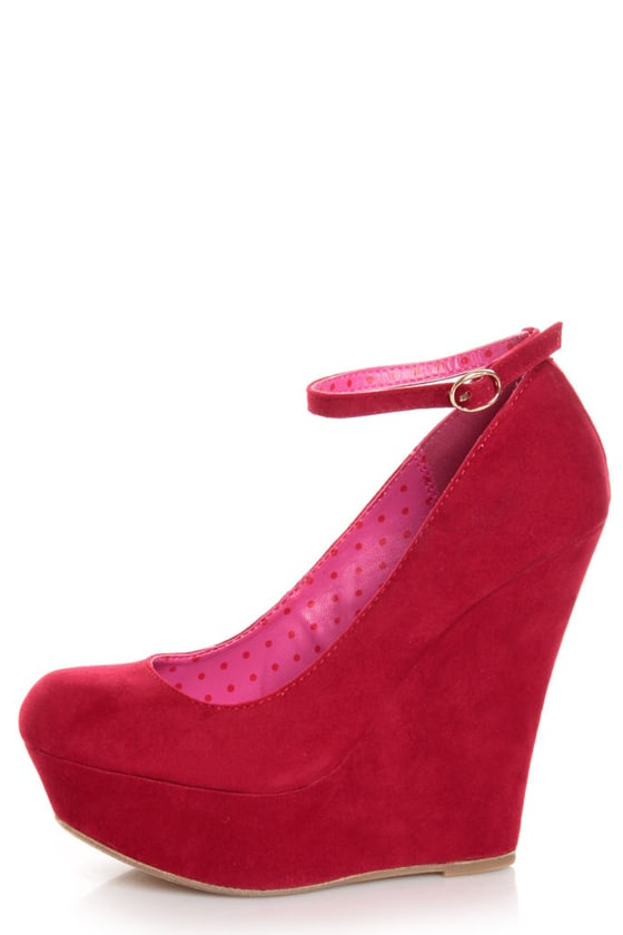 Bamboo Pamela 10 Red Ankle Strap Platform Wedges at Lulus.com!