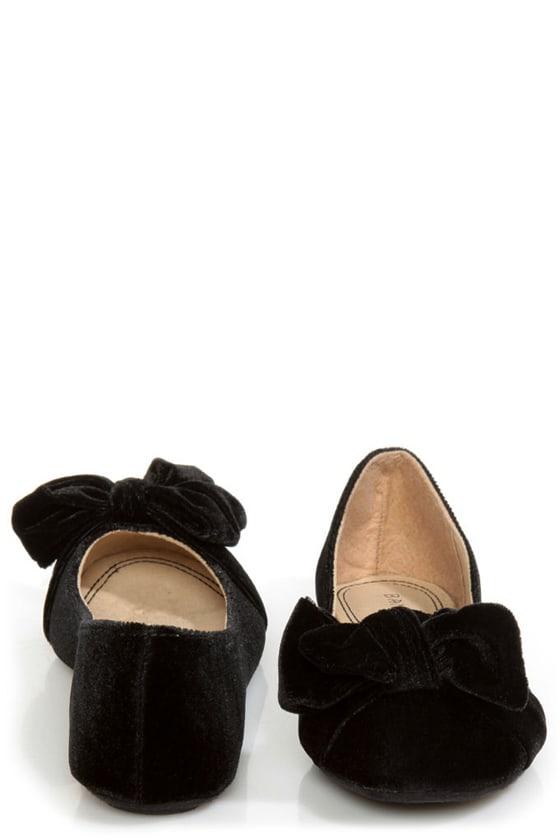 a7e7f7115 Bamboo Poet 01 Black Velvet Toe Bow Ballet Flats - $21.00