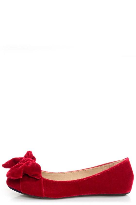 Bamboo Poet 01 Red Velvet Toe Bow Ballet Flats