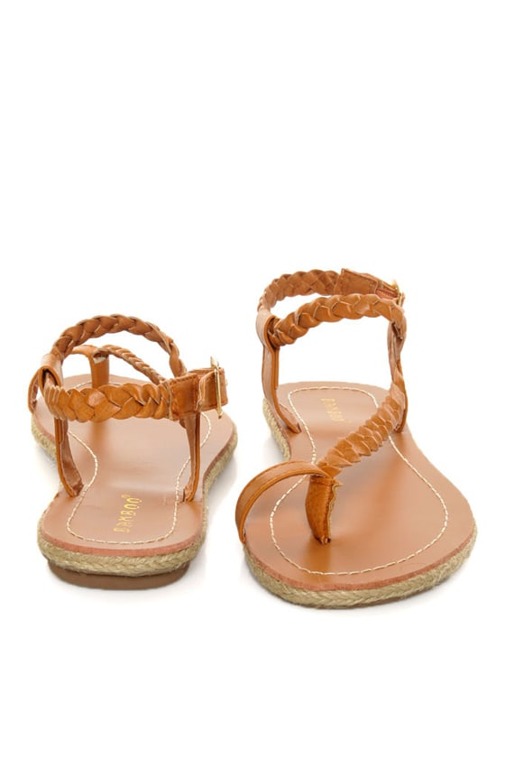 d57268eb6ddd48 Bamboo Roundy 01 Chestnut Brown Braided Thong Sandals -  20.00