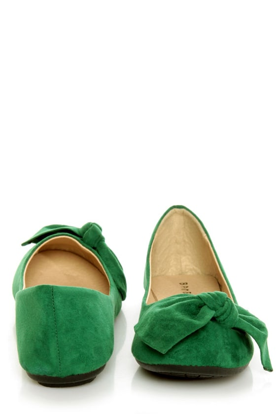 Bamboo Sami 10A Green Side Bow Ballet Flats at Lulus.com!