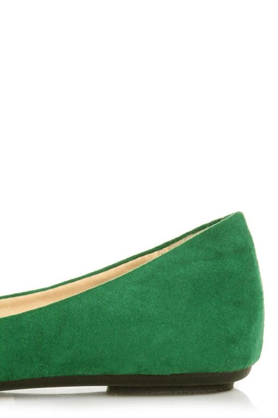 Bamboo Sami 10A Green Side Bow Ballet Flats