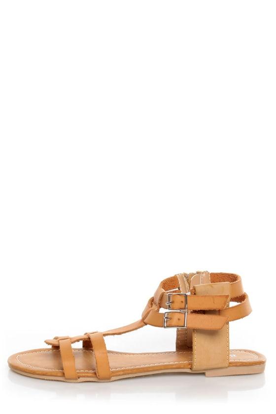 Bamboo Sherin 02 Natural Tan Gladiator Sandals