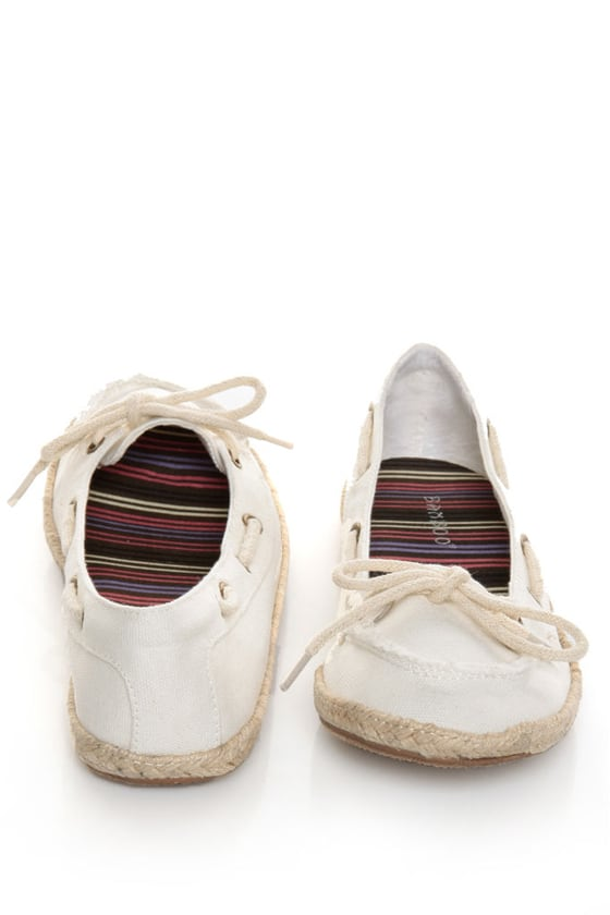 Bamboo Singing 01 White Canvas Boat Shoe Skimmer Flats at Lulus.com!