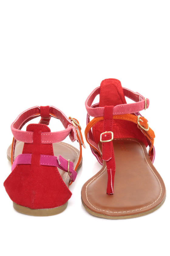 Bamboo Sloane 08 Red Multi Buckle Bash Thong Sandals