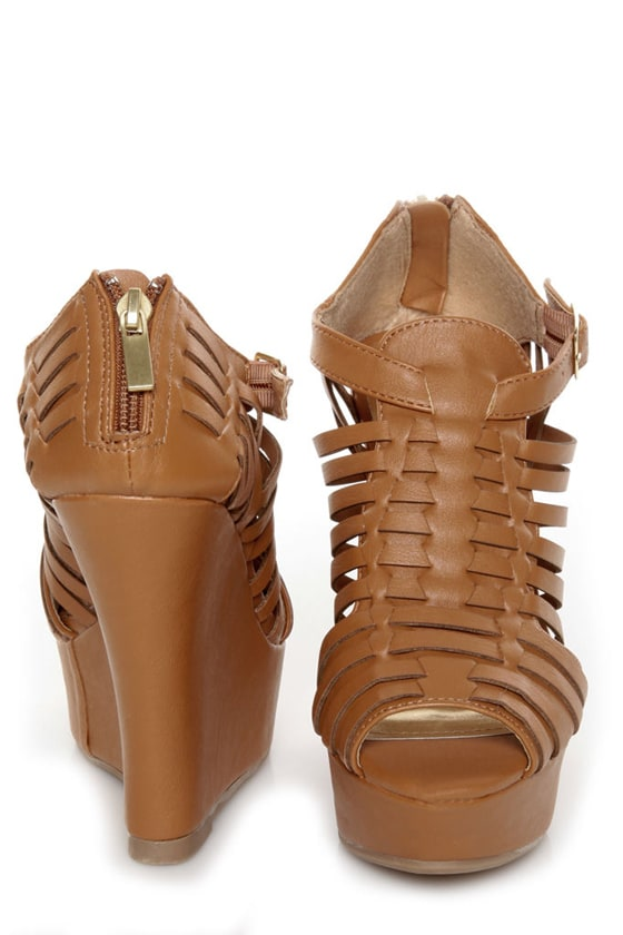 Bamboo Smooch 06 Chestnut Huarache Platform Wedge Sandals