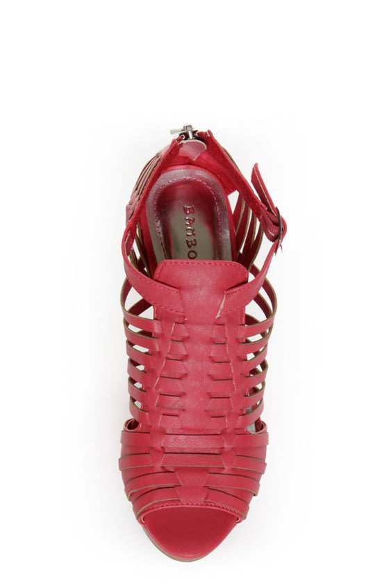 Bamboo Smooch 06 Coral Huarache Platform Wedge Sandals