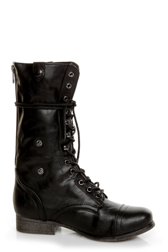 Bamboo Surprise 01 Black Lace-Up Convertible Combat Boots at Lulus.com!