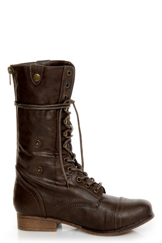 Bamboo Surprise 01 Brown Lace-Up Convertible Combat Boots