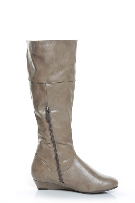 bamboo tamara 35 taupe buckled low wedge knee high boots
