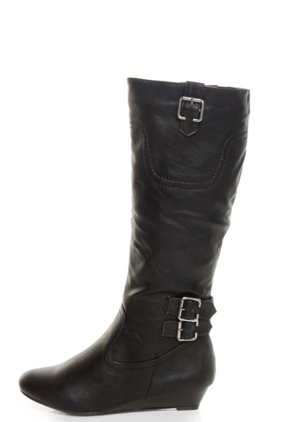 bamboo tamara 36 black buckled wedge knee high boots 44 00
