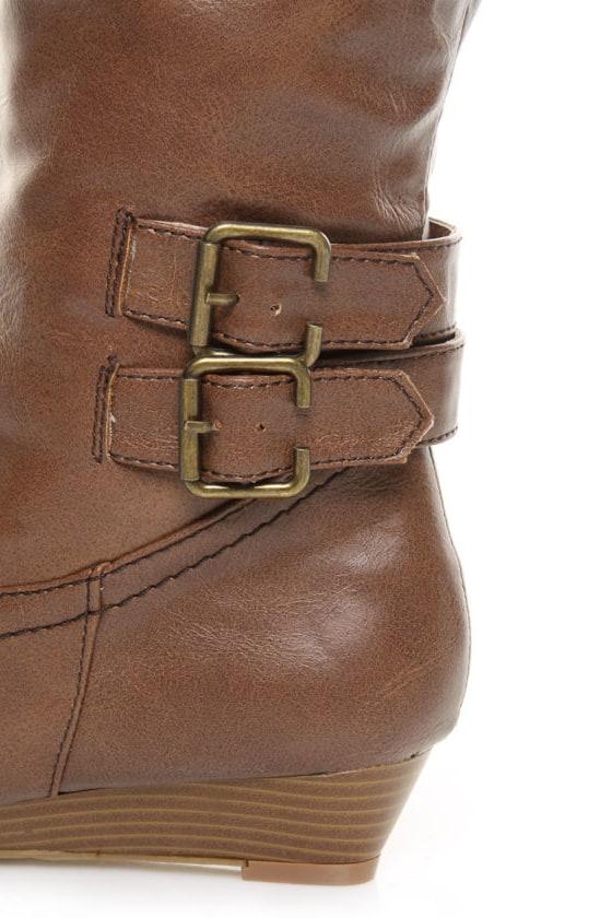 bamboo tamara 36 chestnut buckled wedge knee high boots