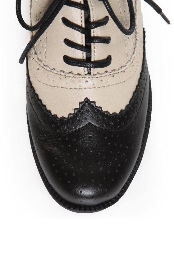Bamboo Tuxedo 02 Black & White Spectator Lace-Up Oxfords