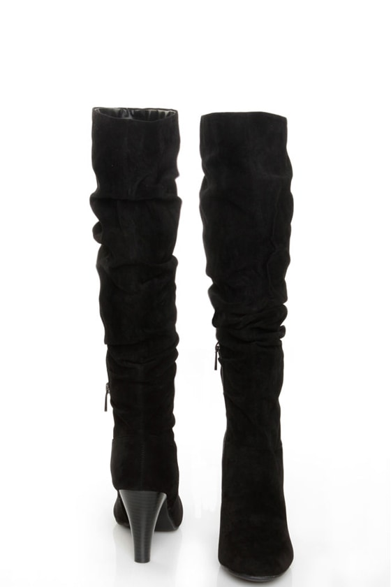Bamboo Valencia 05 Black Suede Slouchy High Heel Riding Boots