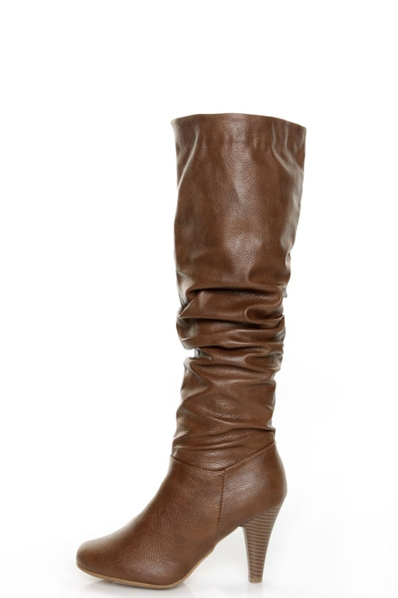 Bamboo Valencia 05 Chestnut Slouchy High Heel Riding Boots
