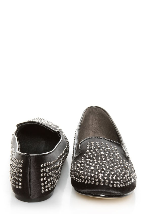 Jules Black Rhinestone Encrusted Smoking Slipper Flats at Lulus.com!
