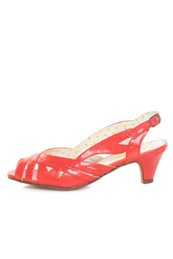 B.A.I.T. Joanna Coral Red Strappy Slingback Kitten Heels - $56.00