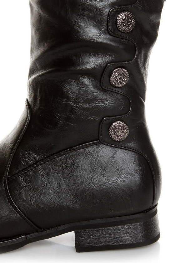 Rina 12 Black Buttoned and Scalloped Riding Boots