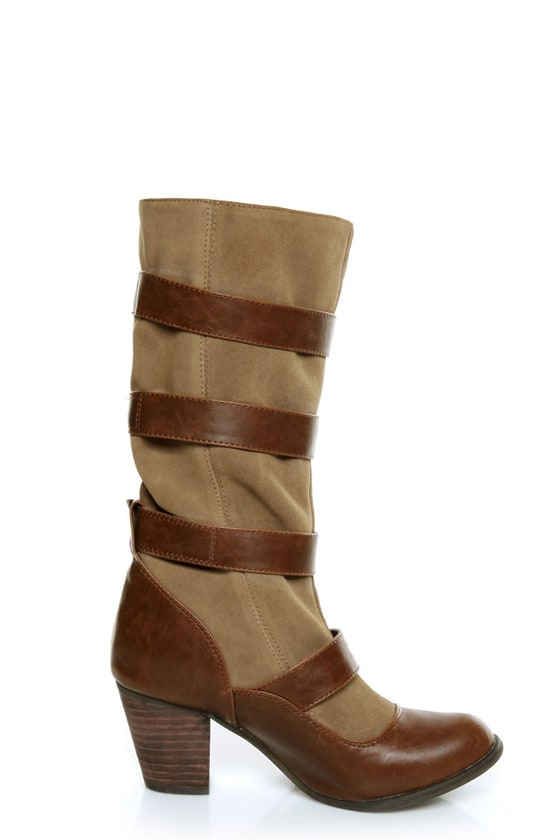 Chelsea Crew Candy Tan Two-Tone Belted Mid Calf Boots at Lulus.com!