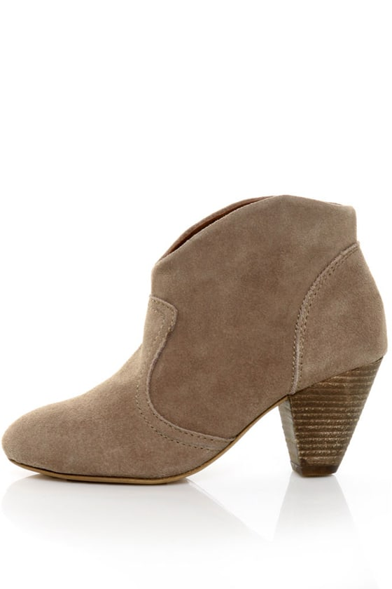 Chelsea Crew Bolivia Taupe Suede Low Heel Ankle Booties - $85.00