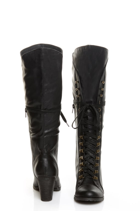 chelsea crew zora black lace up knee high heel boots 93 00