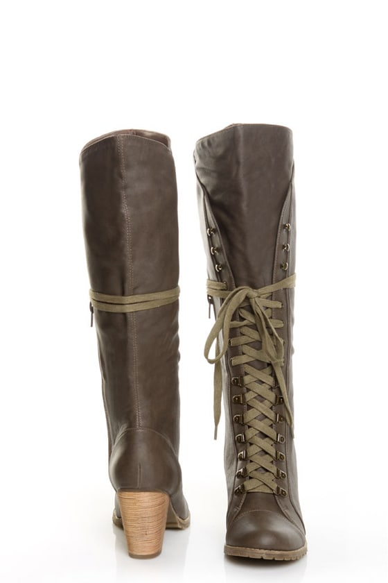 Chelsea Crew Zora Khaki Lace-Up Knee High Heel Boots