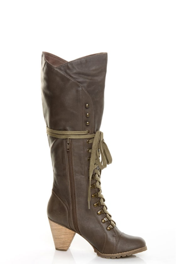 Chelsea Crew Zora Khaki Lace-Up Knee High Heel Boots
