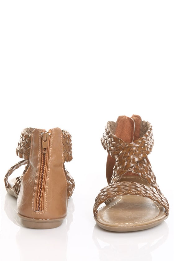 CityClassified Archer Tan Braided Flat Sandals