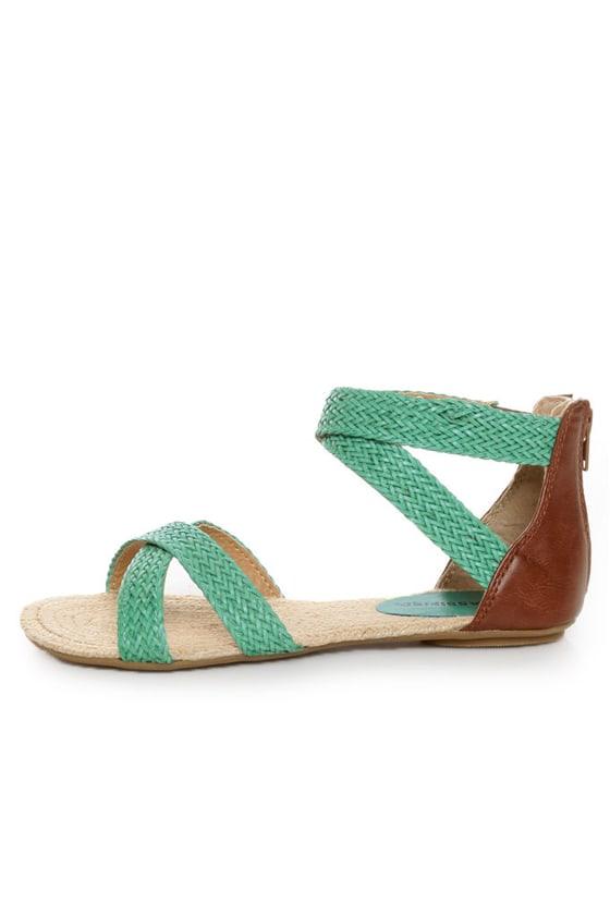 City Classified Fazan Teal Braided Flat Sandals